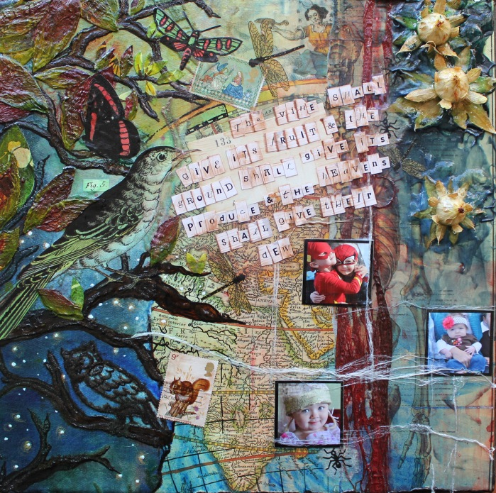 heavens shall give their dew, 12in x 12in mixed media collage on canvas, 2013