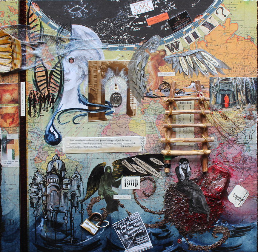 Angels & Demons, 18in x 18in mixed media collage on canvas, 2014