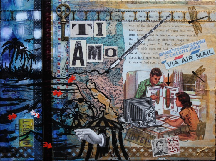 Ti Amo, 12in x 9in mixed media collage on canvas, 2014