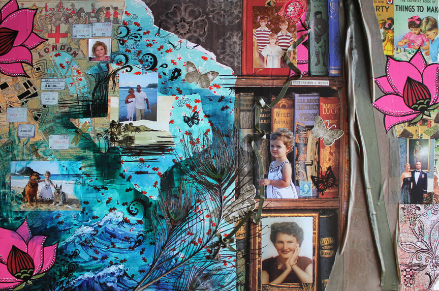 Travels of the Heart, 36in x 24in mixed media collage on canvas, 2014