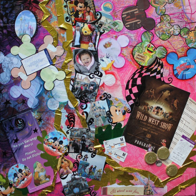 Disney Paris, 24in x 24in mixed media collage on canvas, 2014