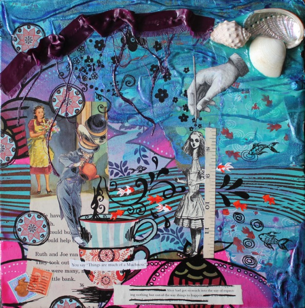 of muchness, 12in x 12in mixed media collage on canvas, 2014