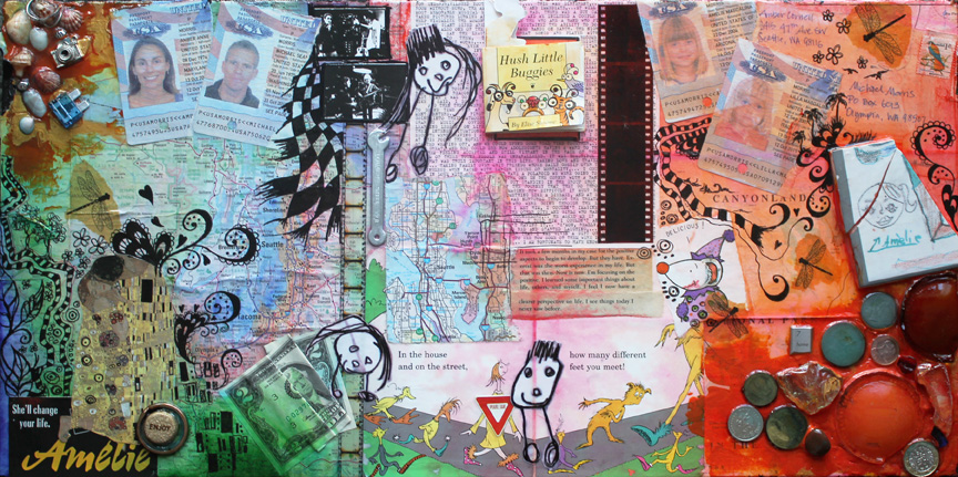 Meant To Be, 24in x 12in mixed media collage on canvas, 2014