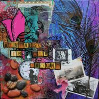 Kindness is All Around, 12in x 12in mixed media collage on canvas, 2014