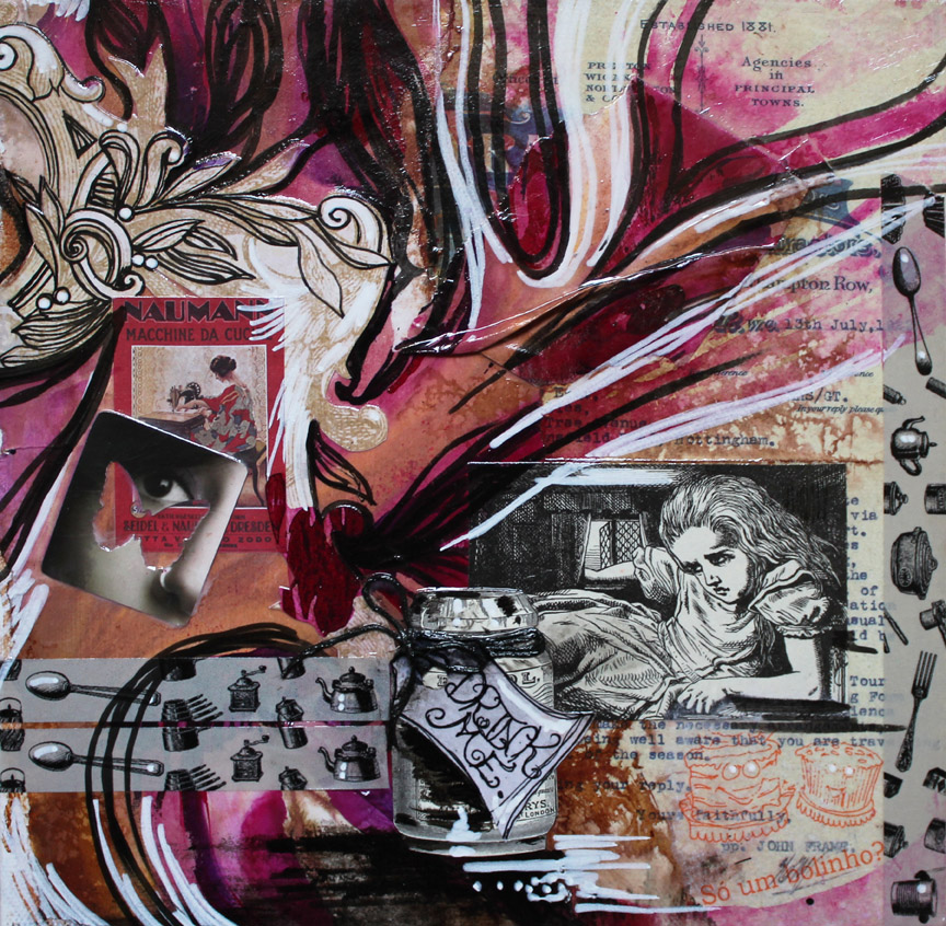 A Little Alice at Heart, 9in x 9in x 2.25in mixed media collage on canvas, 2014