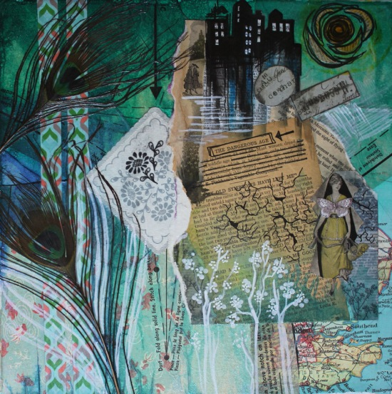 A Dangerous Age, 12in x 12in mixed media collage on canvas, 2014