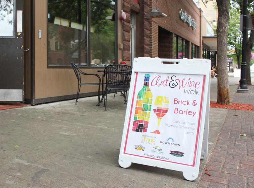 My Art & Wine walk sign at the Brick & Barley (August 2014)