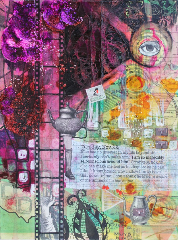 Tuesday, Nov 22, mixed media collage on canvas, 12in x 16in, 2014