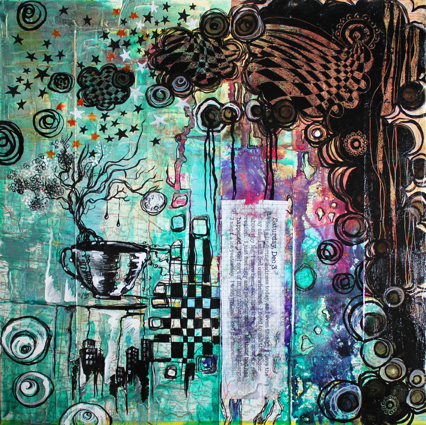 Saturday, Dec 3, mixed media collage on canvas 24in x 24in, 2014