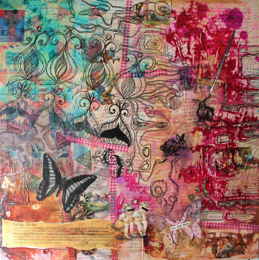 Friday, Oct 28, 24in x24in mixed media on canvas, 2014