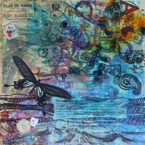 Thursday, Feb 22 • 18in x 18in • Mixed media collage • Carly Swenson • 2014