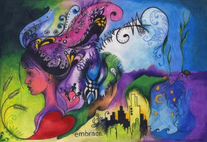 Embrace, 8in x 11in, colored pencil, 2010