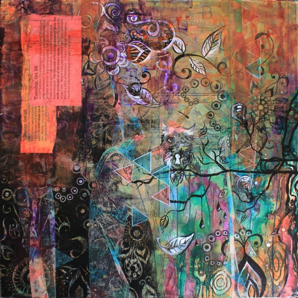 Tuesday, Oct 25, 24in x 24in mixed media collage on canvas, 2014