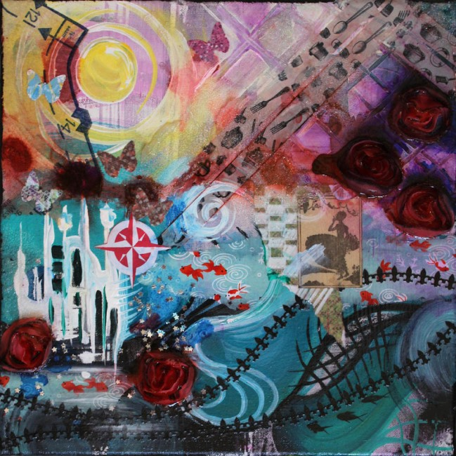 Wanderlust, 12in x12in, mixed media college on canvas, 2014