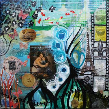 Peace of mind, 12in x 12in, mixed media collage on canvas, 2014