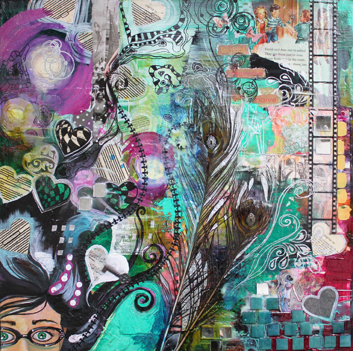 Lost in my mind, 24in x 24in, mixed media collage on canvas, 2015