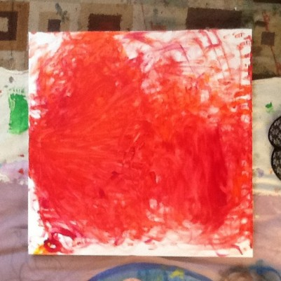 Canvas started with blindfolded finger-painting/dancing