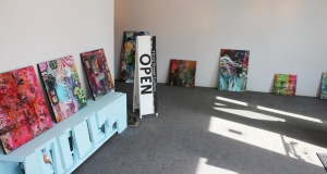 Organizing placement of works for my exhibition.