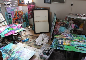 My studio as I finished my works and prepped for my show.