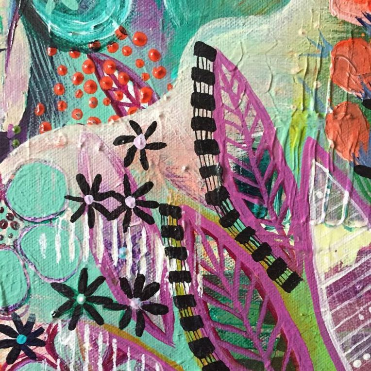 Caught in Between (Detail image) • 24in x 24in • Intuitive Acrylic Painting on Canvas • Carly Swenson • 2018